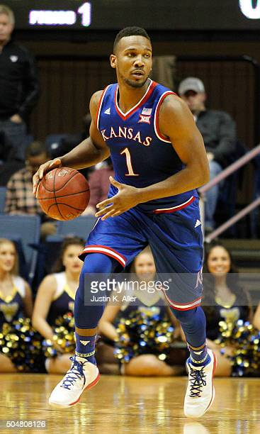 Wayne Selden Jr #1 of the Kansas Jayhawks in action during the game against the West Virginia Mountaineers at the WVU Coliseum on January 12 2016 in...