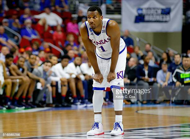 Wayne Selden Jr #1 of the Kansas Jayhawks looks on in the second half against the Connecticut Huskies during the second round of the 2016 NCAA Men's...