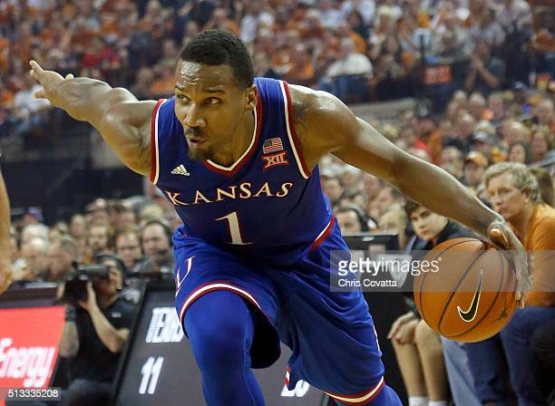 Wayne Selden Jr #1 of the Kansas Jayhawks moves with the ball against the Texas Longhorns at the Frank Erwin Center on February 29 2016 in Austin...