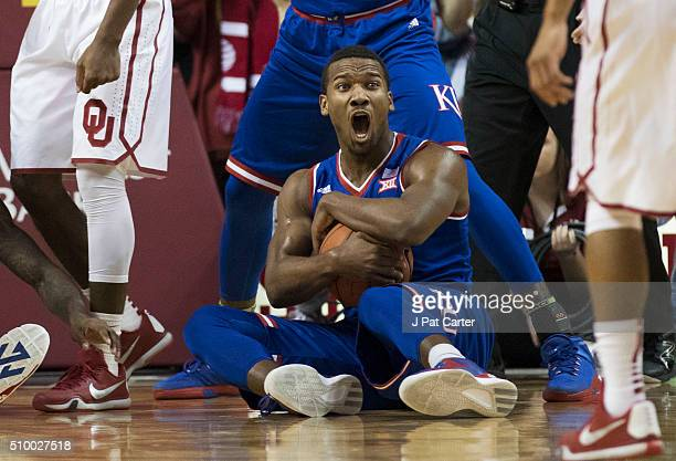 Wayne Selden Jr #1 of the Kansas Jayhawks reacts after rebounding an Oklahoma ball during the first half of a NCAA college basketball game at the...