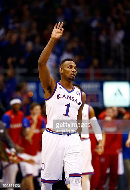 Wayne Selden Jr #1 of the Kansas Jayhawks reacts after scoring during the game against the UC Irvine Anteaters at Allen Fieldhouse on December 29...