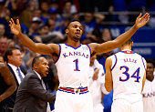 Wayne Selden Jr #1 of the Kansas Jayhawks reacts after scoring during the game against the Baylor Bears at Allen Fieldhouse on January 2 2016 in...