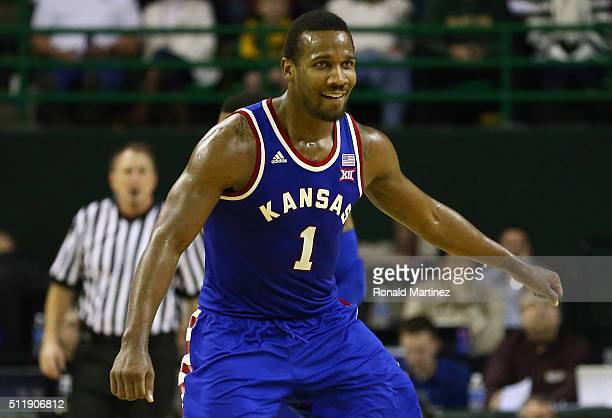 Wayne Selden Jr #1 of the Kansas Jayhawks reacts against the Baylor Bears during the second half at Ferrell Center on February 23 2016 in Waco Texas