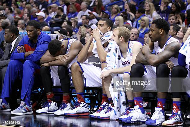 Wayne Selden Jr #1 of the Kansas Jayhawks reacts from the bench against the Stanford Cardinal during the third round of the 2014 NCAA Men's...