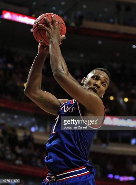 Wayne Selden Jr #1 of the Kansas Jayhawks rebounds against the Michigan State Spartans during the Champions Classic at the United Center on November...