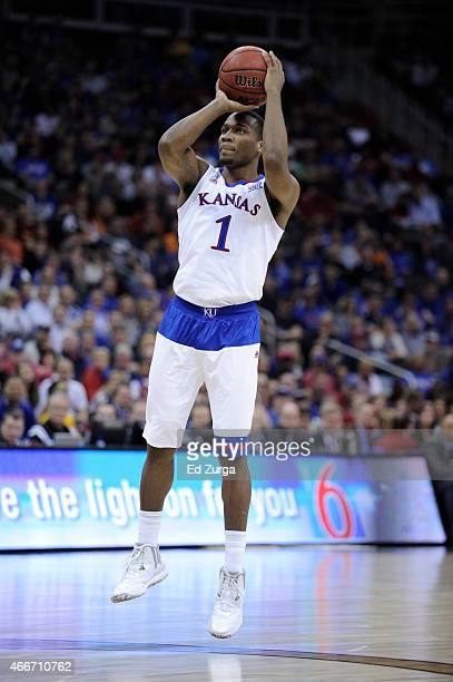 Wayne Selden Jr #1 of the Kansas Jayhawks shoots the ball against the TCU Horned Frogs during the quarterfinal round of the Big 12 basketball...
