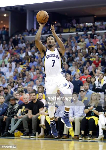 Wayne Selden Jr #7 of the Memphis Grizzlies shoots the ball against the San Antonio Spurs in game three of the Western Conference Quarterfinals...