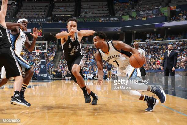 Wayne Selden of the Memphis Grizzlies handles the ball against the San Antonio Spurs during Game Three of the Western Conference Quarterfinals of the...