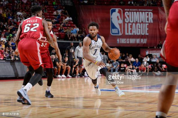 Wayne Selden of the Memphis Grizzlies handles the ball against the Miami Heat during the Quarterfinals of the 2017 Summer League on July 15 2017 at...