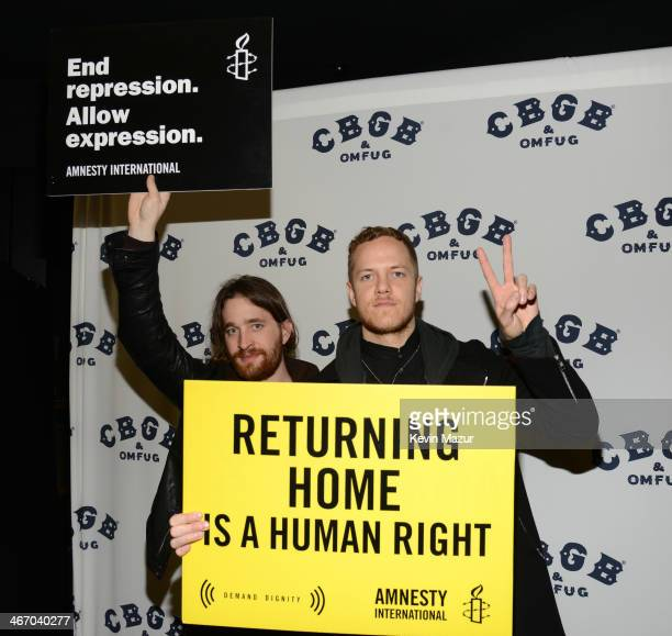 Wayne Sermon and Daniel Reynolds of Imagine Dragons attend the Amnesty International Concert presented by the CBGB Festival at Barclays Center on...