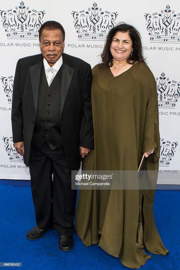 Wayne Shorter and wife Carolina dos Santos attend an award ceremony for the Polar Music Prize at Konserthuset on June 15, 2017 in Stockholm, Sweden.