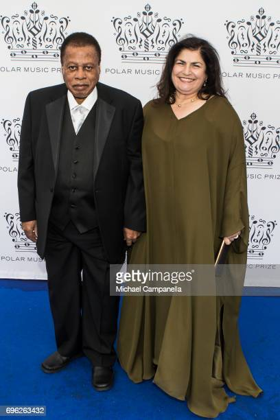 Wayne Shorter and wife Carolina dos Santos attend an award ceremony for the Polar Music Prize at Konserthuset on June 15 2017 in Stockholm Sweden