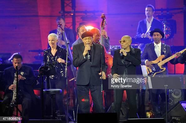 Wayne Shorter Annie Lennox Marc Johnson James Genus Al Jarreau Femi Kuti Dee Dee Bridgewater Marcus Miller and Till Bronner perform on stage during...