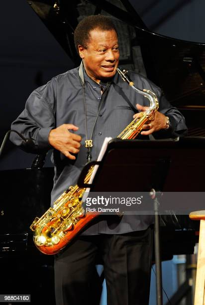 Wayne Shorter Quartet featuring Brian Blades John Patitucci and Danilo Perez performs at the 2010 New Orleans Jazz Heritage Festival Presented By...