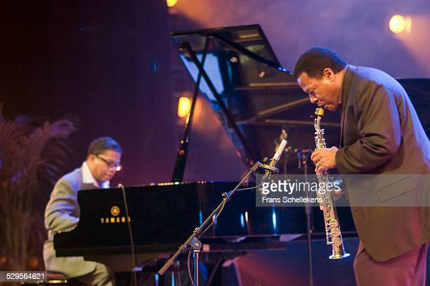 Wayne Shorter saxophone and Herbie Hancock perform at the North Sea Jazz Festival on July 12th 2002 in Amsterdam Netherlands