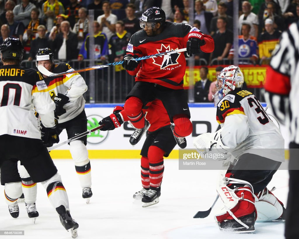 Wayne Simmonds of Canada flies high during the 2017 IIHF Ice Hockey World Championship Quarter Final game between Canada and Germany at Lanxess Arena on May 18, 2017 in Cologne, Germany.