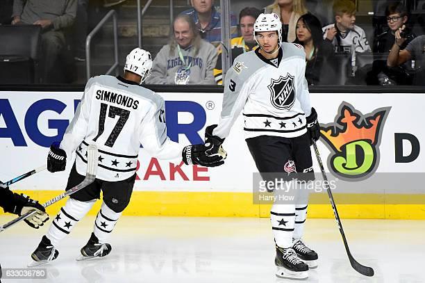 Wayne Simmonds of the Philadelphia Flyers celebrates a goal with Seth Jones of the Columbus Blue Jackets during the 2017 Honda NHL AllStar Tournament...