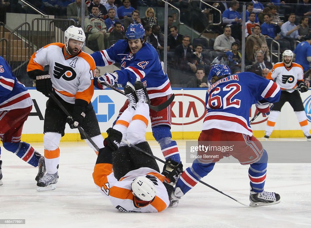 <a gi-track='captionPersonalityLinkClicked' href=/galleries/search?phrase=Wayne+Simmonds&family=editorial&specificpeople=4212617 ng-click='$event.stopPropagation()'>Wayne Simmonds</a> #17 of the Philadelphia Flyers hits the ice against the New York Rangers in Game One of the First Round of the 2014 NHL Stanley Cup Playoffs at Madison Square Garden on April 17, 2014 in New York City. The Rangers defeated the Flyers 4-1.
