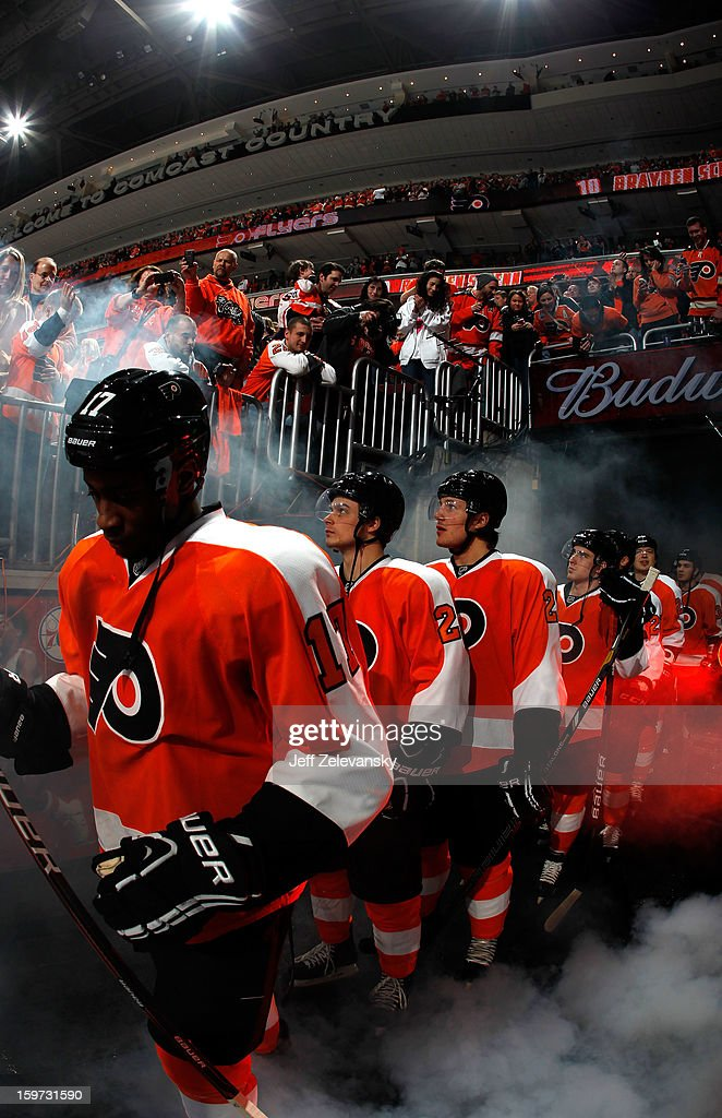 <a gi-track='captionPersonalityLinkClicked' href=/galleries/search?phrase=Wayne+Simmonds&family=editorial&specificpeople=4212617 ng-click='$event.stopPropagation()'>Wayne Simmonds</a> #17 of the Philadelphia Flyers prepares to take the ice for the home opener against the Pittsburgh Penguins at Wells Fargo Center on January 19, 2013 in Philadelphia, Pennsylvania.