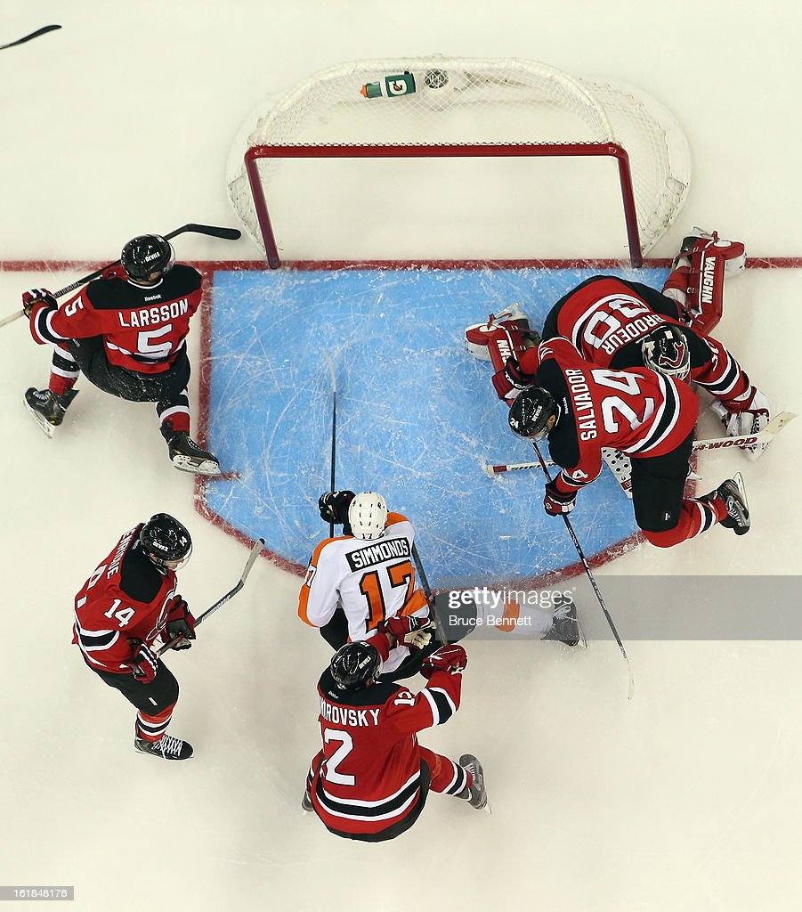 <a gi-track='captionPersonalityLinkClicked' href=/galleries/search?phrase=Wayne+Simmonds&family=editorial&specificpeople=4212617 ng-click='$event.stopPropagation()'>Wayne Simmonds</a> #17 of the Philadelphia Flyers skates against the New Jersey Devils at the Prudential Center on February 15, 2013 in Newark, New Jersey.The Devils defeated the Flyers 5-3.