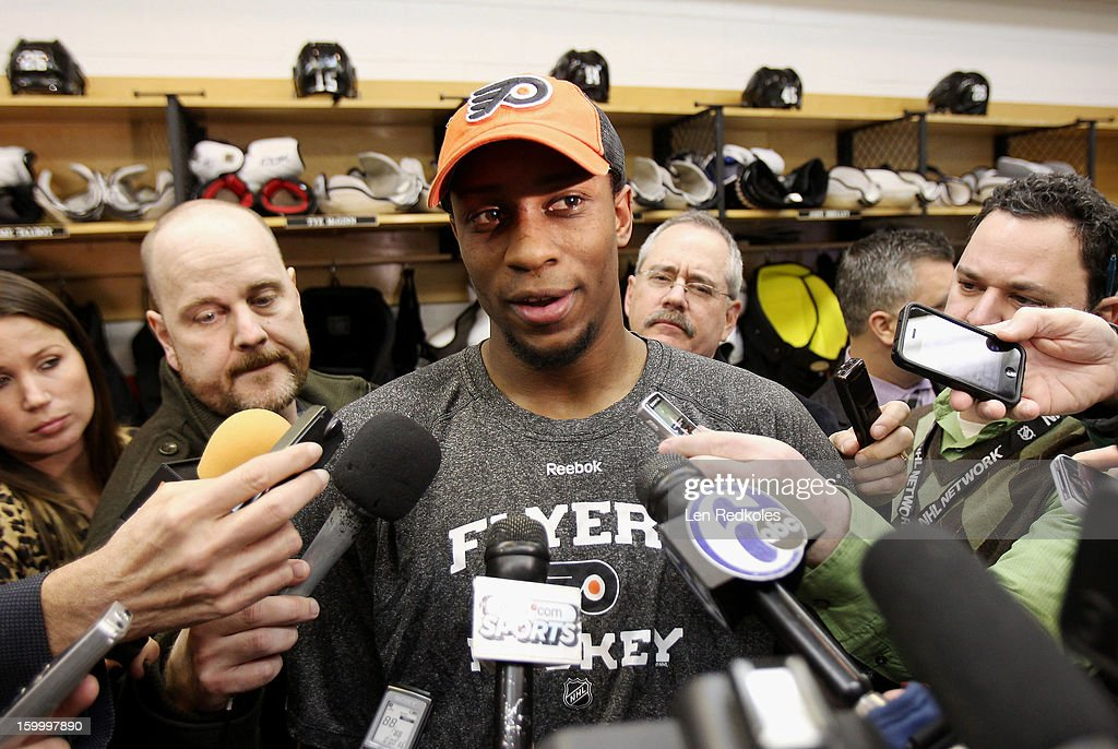<a gi-track='captionPersonalityLinkClicked' href=/galleries/search?phrase=Wayne+Simmonds&family=editorial&specificpeople=4212617 ng-click='$event.stopPropagation()'>Wayne Simmonds</a> #17 of the Philadelphia Flyers speaks to the media after defeating the New York Rangers 2-1 on January 24, 2013 at the Wells Fargo Center in Philadelphia, Pennsylvania.