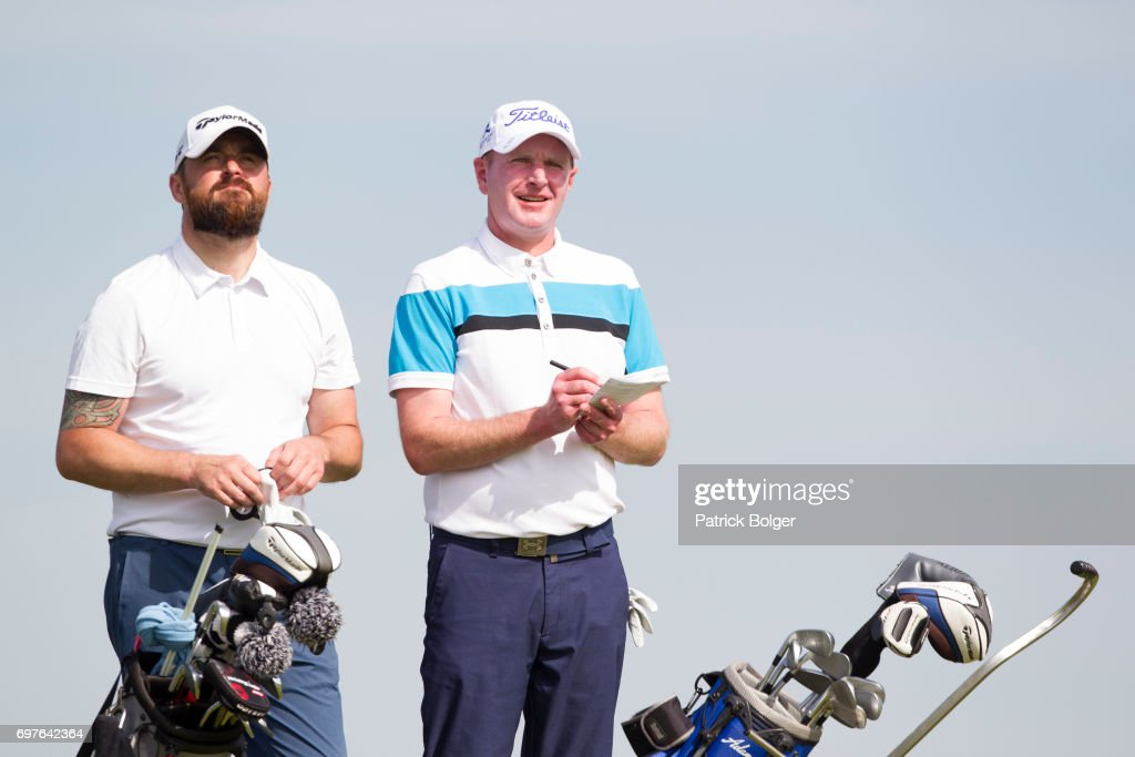 Wayne Sloan (a) and Andrew Manson from Edenmore Golf & Country Club during the PGA Lombard Trophy at Carton House Golf Club on June 19, 2017 in Maynooth, Ireland.