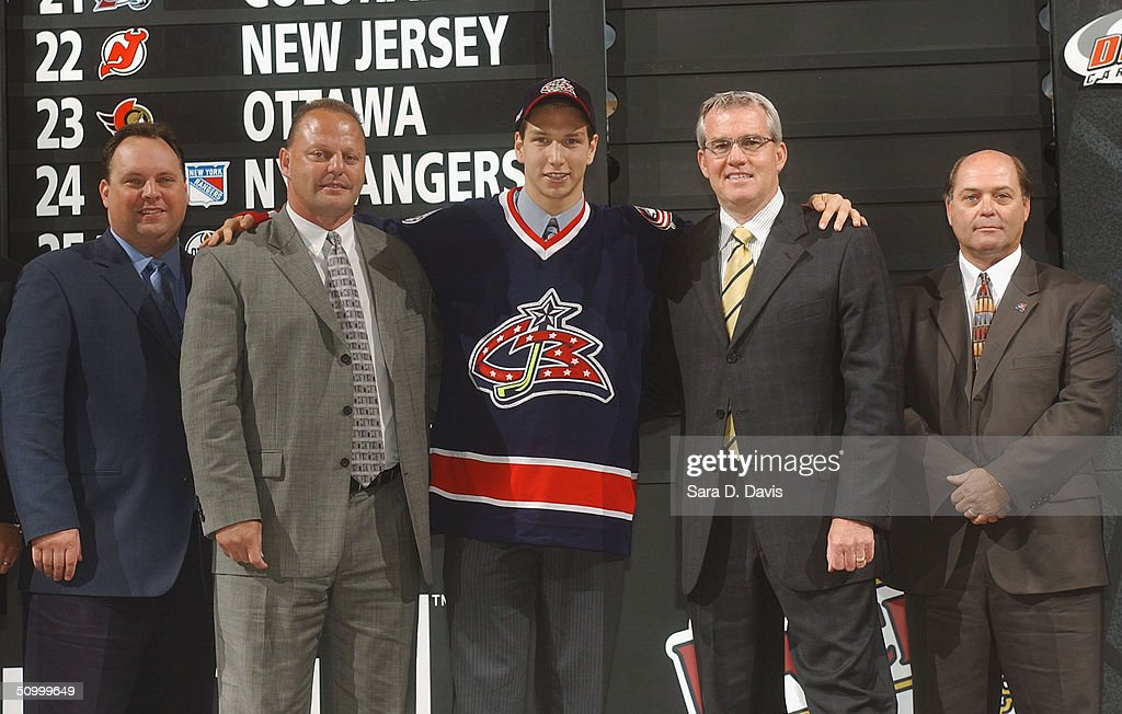 Wayne Smith Gerard Galbert #8 overall draft pick Alexandre Picard Doug MacLean and Don Boyd of the Columbus Blue Jackets pose during the 2004 NHL...