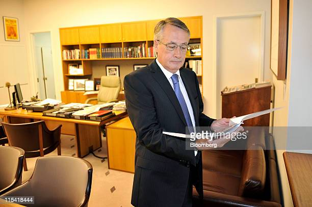 Wayne Swan Australia's treasurer reads through his speech in his office at Parliament House in Canberra Australia on Tuesday June 7 2011 Australia's...