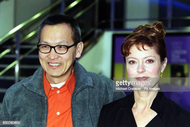Wayne Wang with actress Susan Sarandon at the Odeon Leicester Square in London to watch the film he directed 'Anywhere But Here' which was screened...