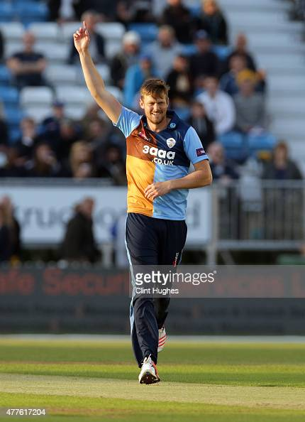 Wayne White of Derbyshire Falcons celebrates after he takes the wicket of Ned Eckersley of Leicestershire Foxes during the Natwest T20 Blast match...