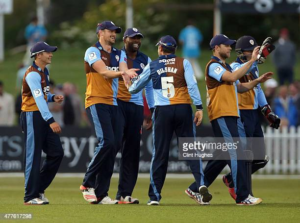 Wayne White of Derbyshire Falcons celebrates with his teammates after taking the catch to dismiss Mark Cosgrove of Leicestershire Foxes during the...