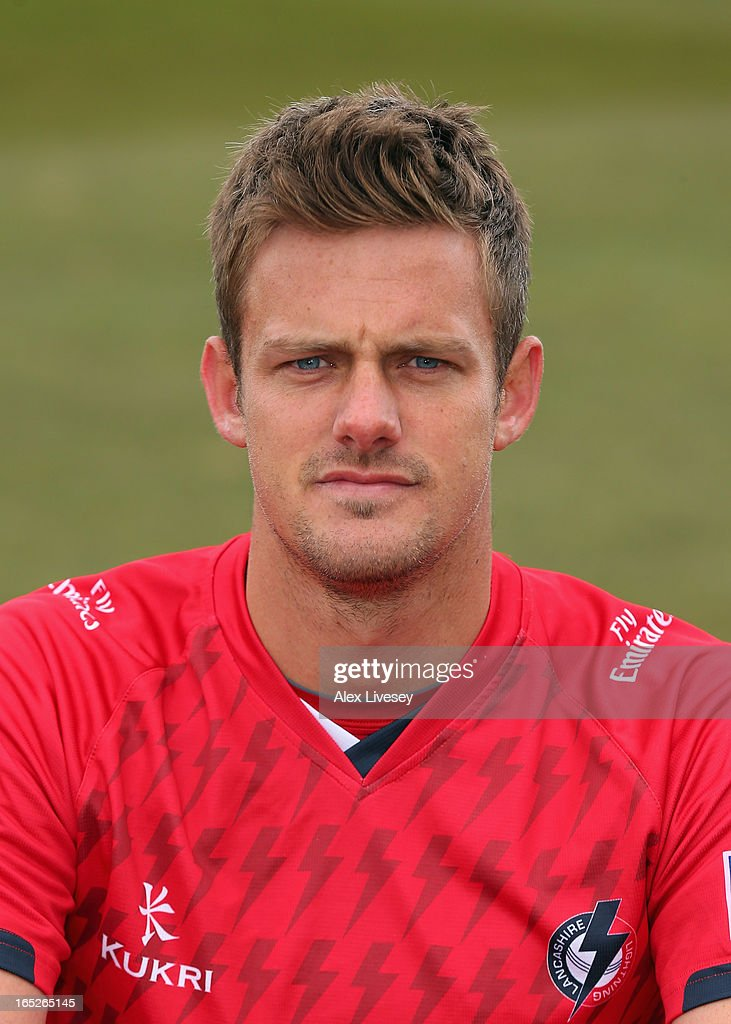 Wayne White of Lancashire CCC wears the T20 kit during a pre-season photocall at Old Trafford on April 2, 2013 in Manchester, England.
