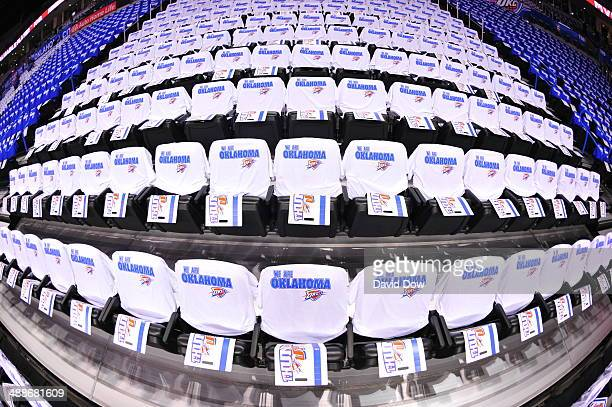 'We Are Oklahoma' fan shirts on seats before Game Two of the Western Conference Semifinals between the Los Angeles Clippers and the Oklahoma City...