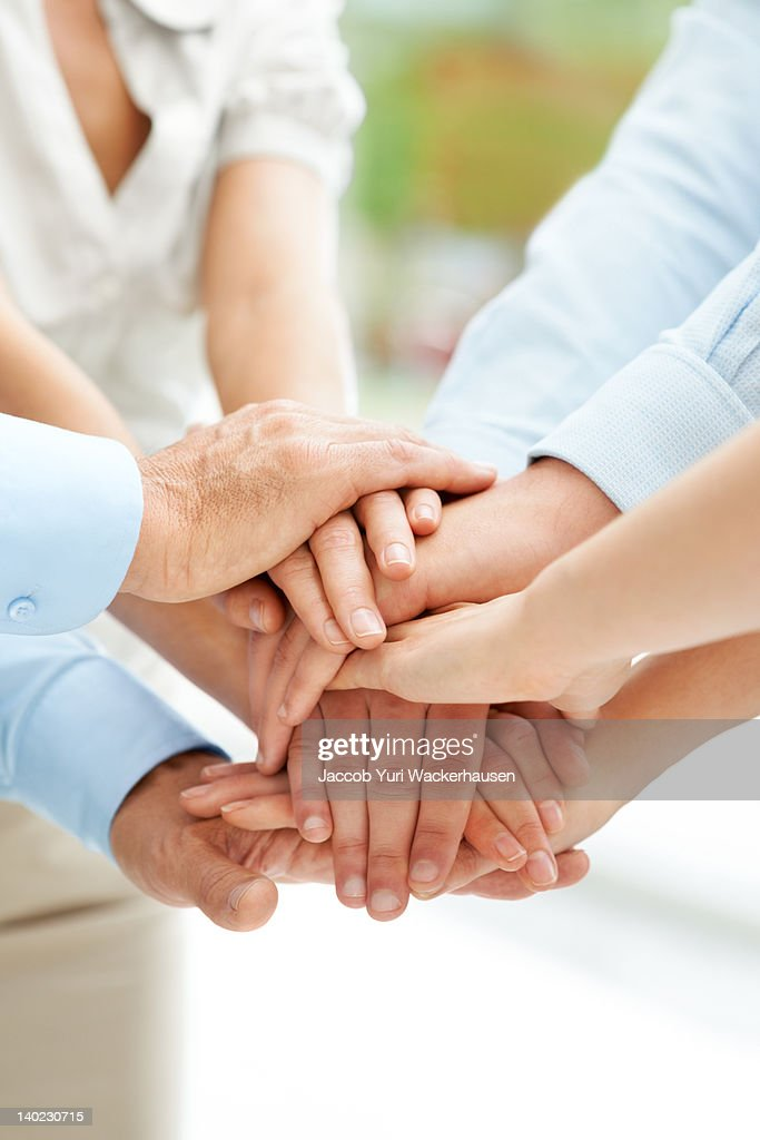 We are on the right track - Working together works : Stock Photo