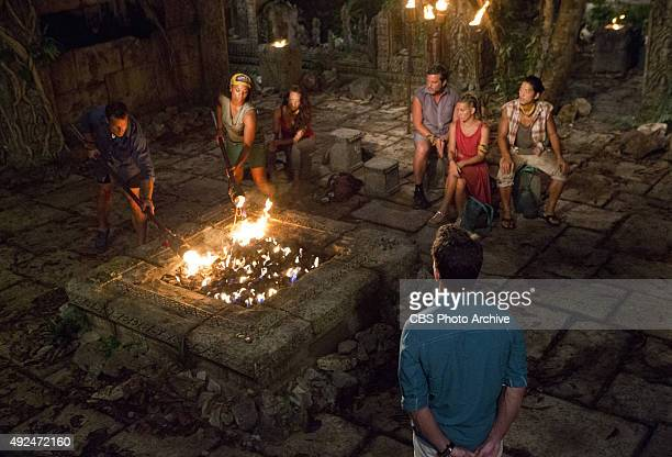 'We Got A Rat' Jeff Probst watches as Jeff Varner and Tasha Fox light their torches at Tribal Council during the third episode of SURVIVOR Wednesday...