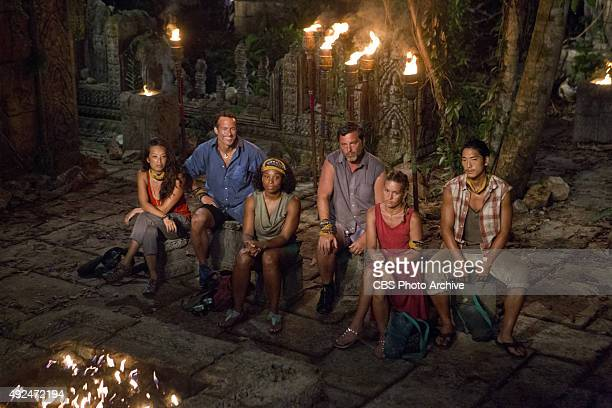 'We Got A Rat' PeihGee Law Andrew Savage Tasha Fox Jeff Varner AbiMaria Gomes and Woo Hwang at Tribal Council during the third episode of SURVIVOR...