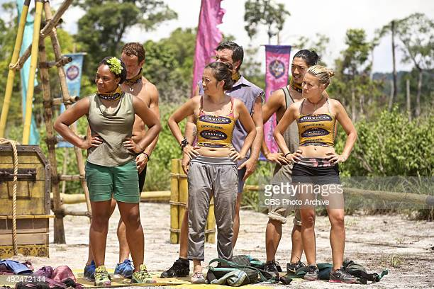 'We Got A Rat' Tasha Fox Andrew Savage PeihGee Law Jeff Varner Woo Hwang and AbiMaria Gomes during the third episode of SURVIVOR Wednesday Oct 7 The...