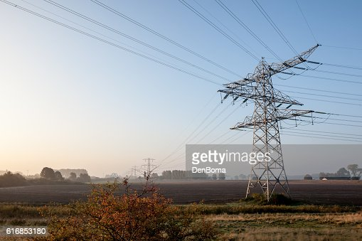 weadow Whit electric pole : Stock Photo