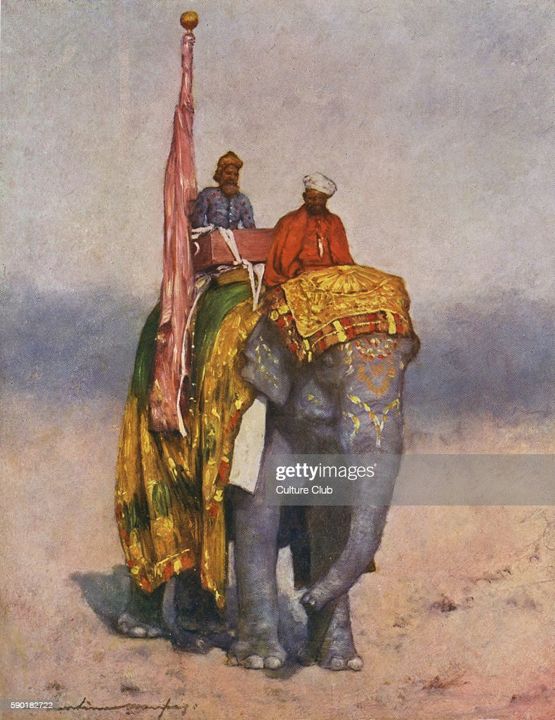 Wealthy man sitting in a howdah atop a costumed elephant his servant sits in front riding on the animal's backcaption reads 'An elephant from the...