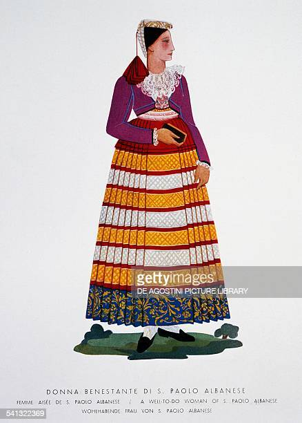 Wealthy woman from San Paolo Albanese traditional Basilicata clothes Italy 19th century