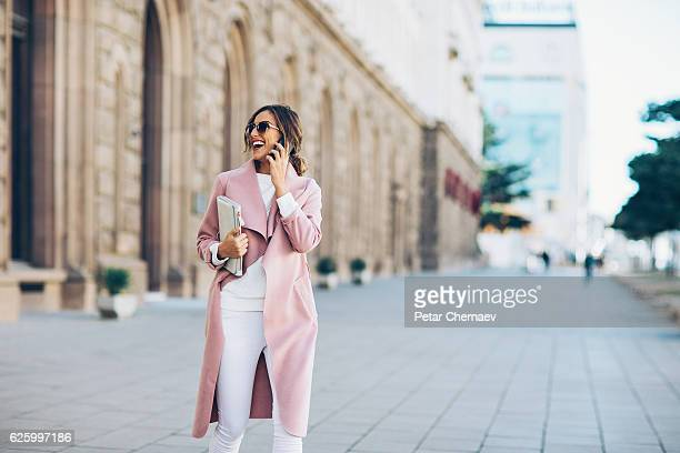 Wealthy woman outdoors in the city