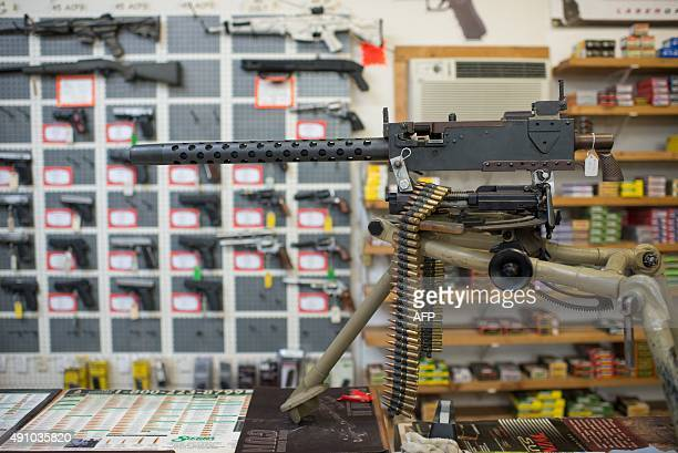 weapons are on display at Roseburg Gun Shop in Roseburg Oregon on October 2 2015 Ten people were confirmed dead after a lone gunman who used...