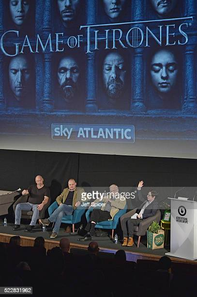 Weapons Master Tommy Dunne Comedian Al Murray Actor Ian McElhinney and Presenter Sue Perkins during Game of Thrones From Page to Screen part of...
