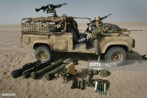A Weapons Mounted Insatllation Kit sit in the Kuwait desert as members of a Brigade Patrol Troop part of the Brigade Recce Force who are an elite...
