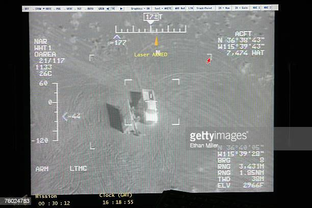 A weapons system display in a ground control station shows a truck from the view of a camera on an MQ9 Reaper during a training mission August 8 2007...