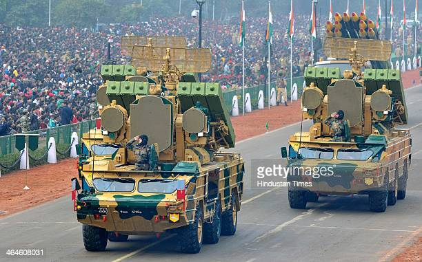 Weapons Systems Army tanks passing through the saluting base during the full dress rehearsal for Republic Day Parade at Rajpath on January 23 2014 in...