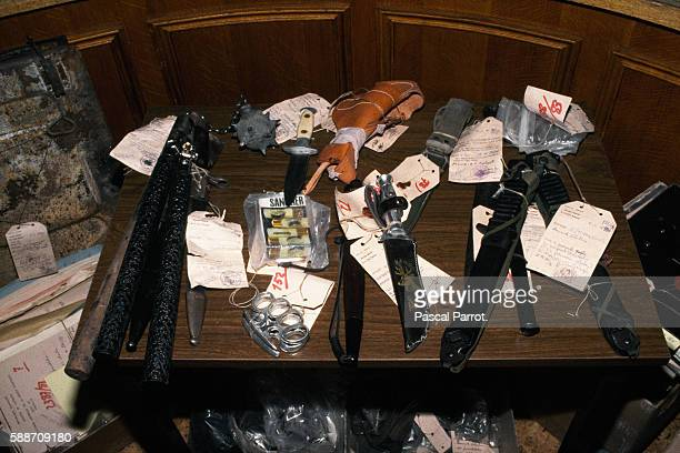 Weapons used in the brutal murder of French government official Jacques Massie and his family JeanBruno Finochietti JeanJoseph Maria and Lionel...