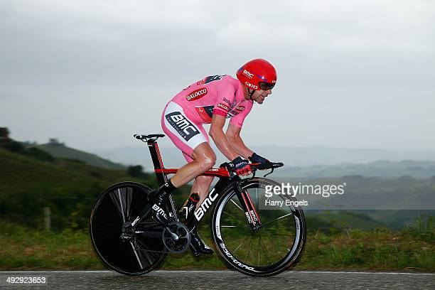 Wearer of the Maglia Rosa leader's jersey Cadel Evans of Australia and BMC Racing Team in action during the twelfth stage of the 2014 Giro d'Italia a...