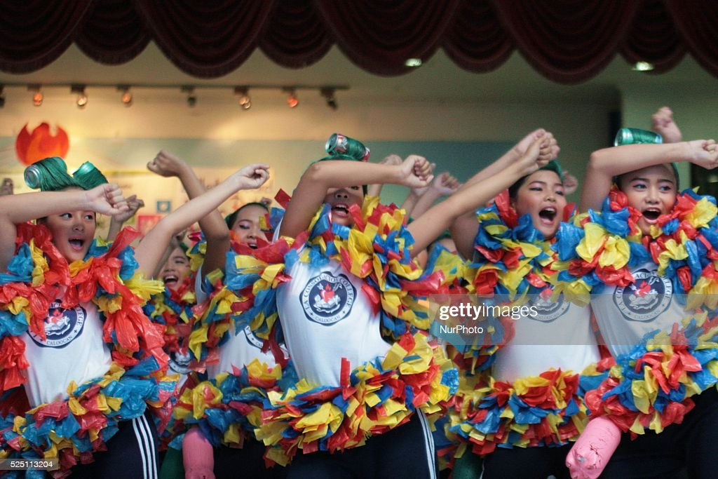 Wearing colorful costumes and props High School students of La Consolacion College in Caloocan Metro Manila Philippines shows their skills in Dancing...