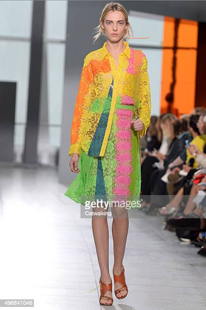 Wearing the latest lacey fabric trend a model walks the Christopher Kane fashion show runway at the spring summer 2016 women's readytowear fashion...